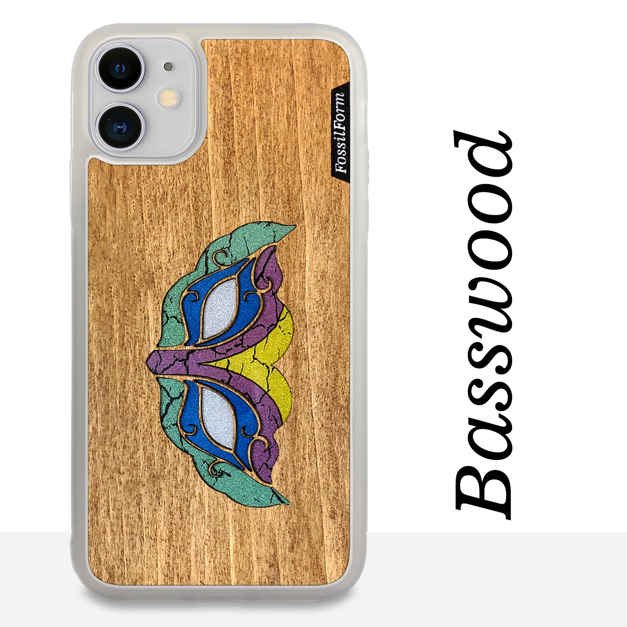 Masquerade Mask - Wood & Resin Case - White