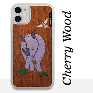 Rhinoceros - Wood & Resin Case - White