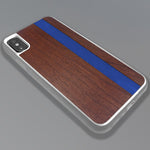 Load image into Gallery viewer, Blue Stripe - Blue Vertical Line - Wood & Resin Case - White