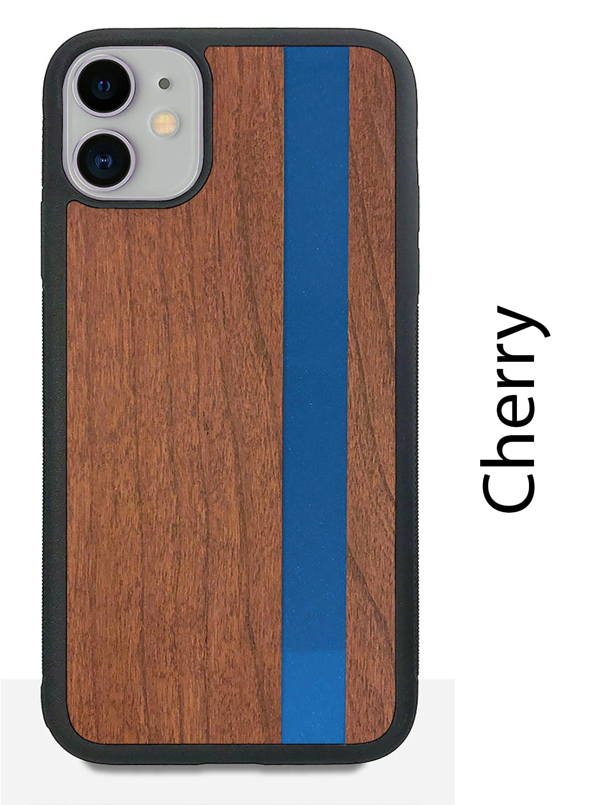 Blue Stripe - Blue Vertical Line - Wood & Resin Case - Black