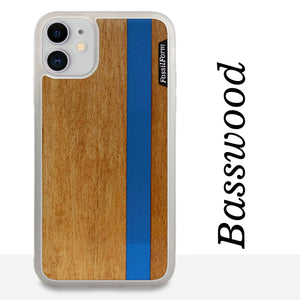 Blue Stripe - Blue Vertical Line - Wood & Resin Case - White