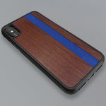 Load image into Gallery viewer, Blue Stripe - Blue Vertical Line - Wood & Resin Case - Black