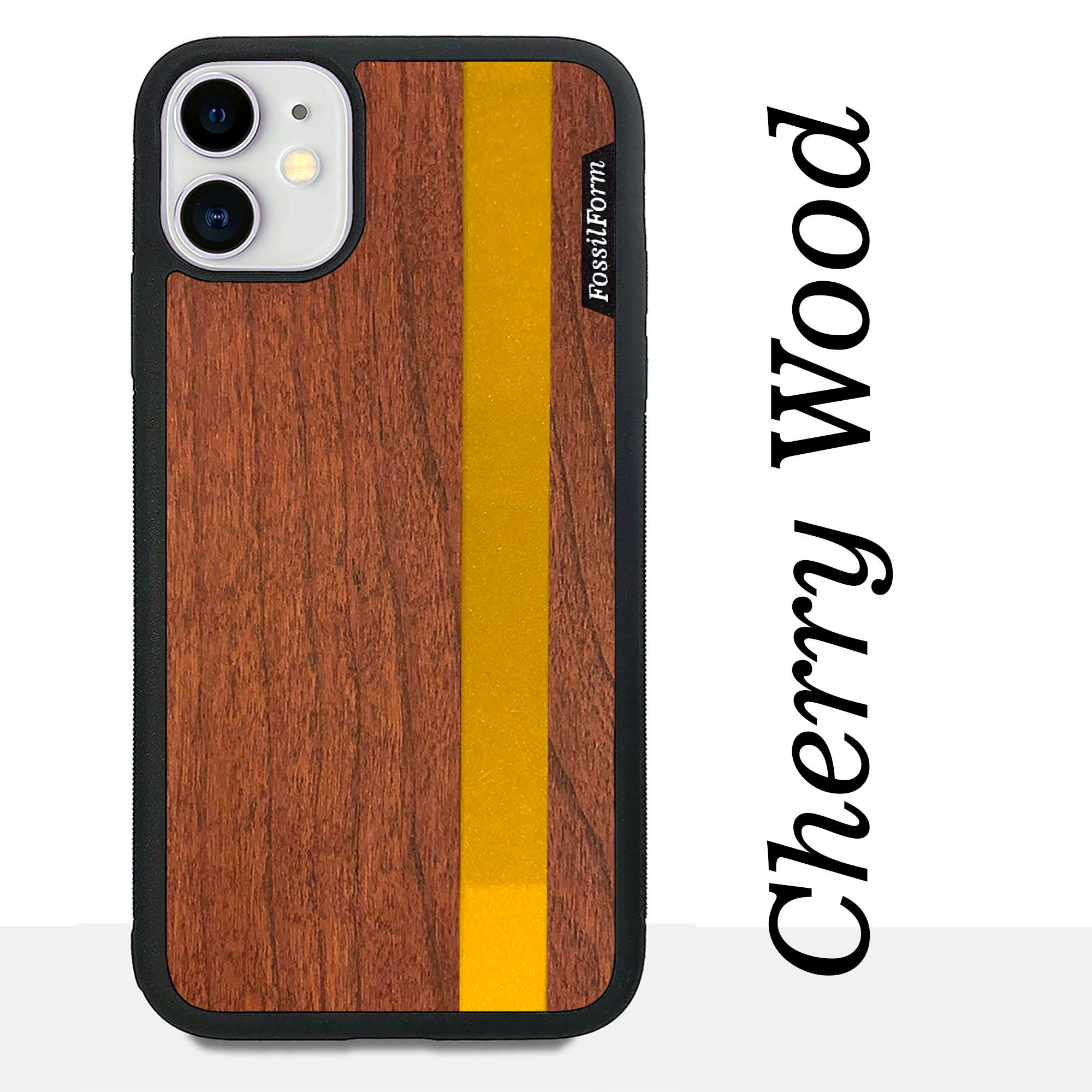 Gold Stripe - Gold Color Vertial Line - Wood & Resin Case - Black