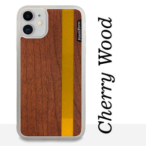 Gold Stripe - Gold Color Vertial Line - Wood & Resin Case - White