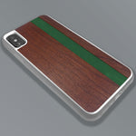 Load image into Gallery viewer, Green Stripe - Green Vertical Line - Wood & Resin Case - White