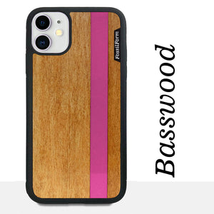 Pink Stripe - Pink Vertical Line - Wood & Resin Case - Black