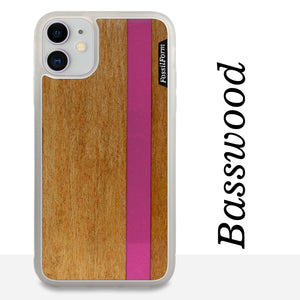 Pink Stripe - Pink Vertical Line - Wood & Resin Case - White