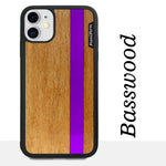 Load image into Gallery viewer, Purple Stripe - Purple Vertical Line - Wood & Resin Case - Black