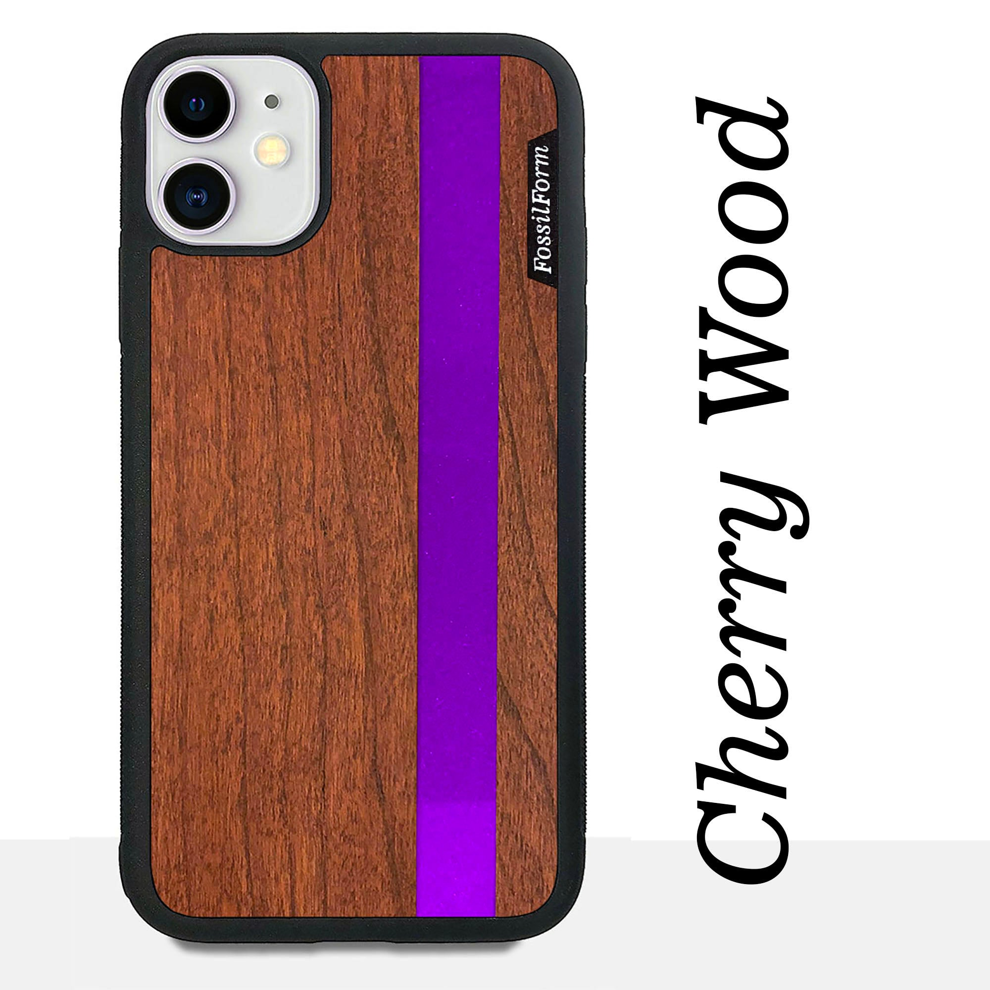 Purple Stripe - Purple Vertical Line - Wood & Resin Case - Black