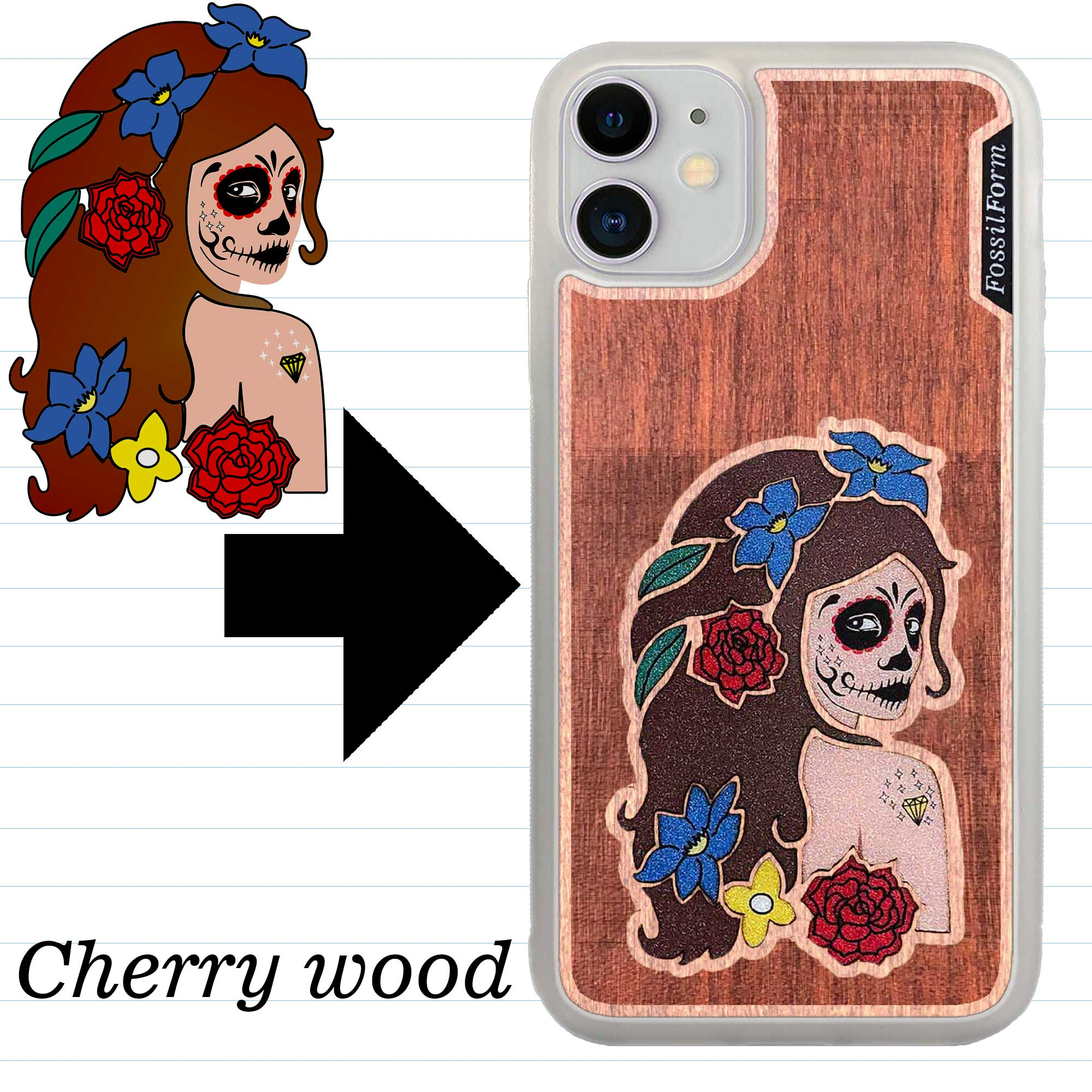 Custom-Made Engraved Wood + Resin + Glitter Phone Case - White