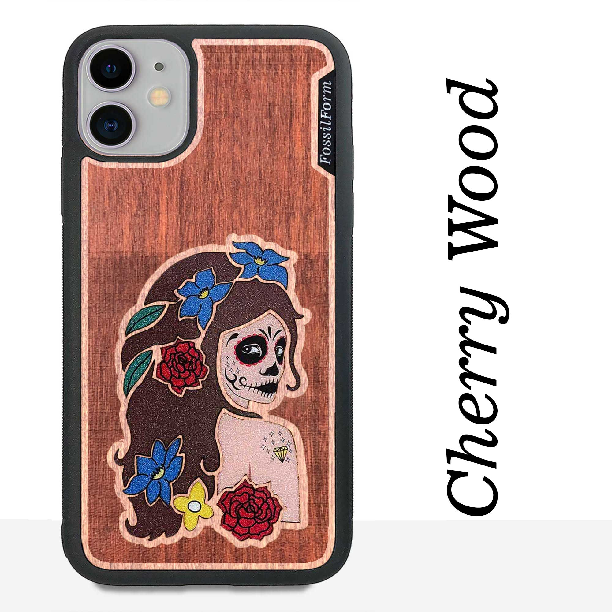 Day of the Dead Girl - Engraved Wood & Resin Case - Black