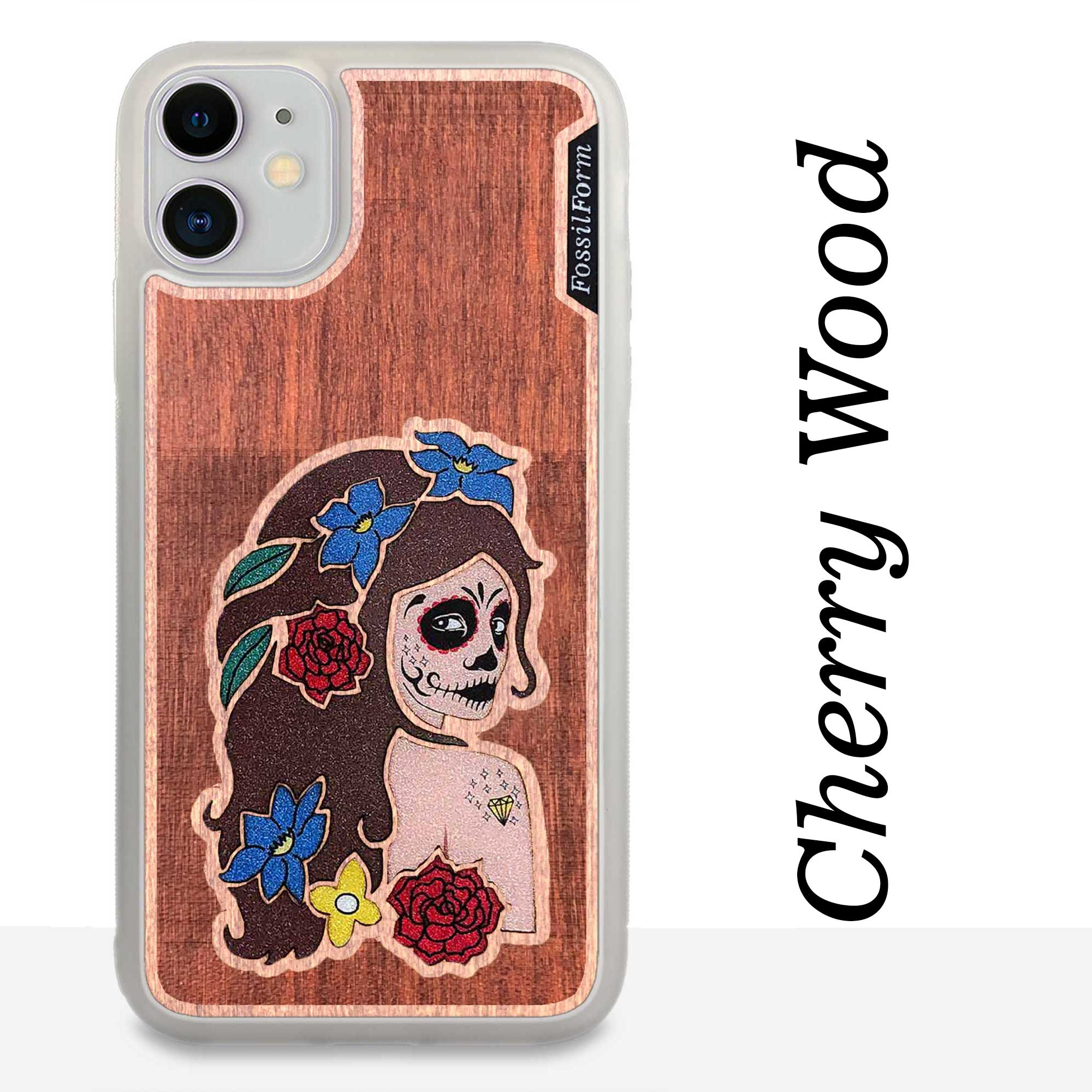 Day of the Dead Girl - Engraved Wood & Resin Case - White