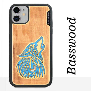 howling Wolf - Engraved Wood & Resin Case - Black