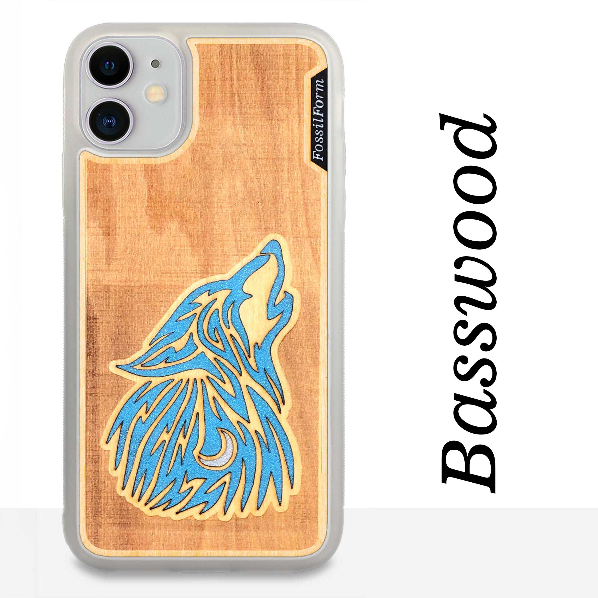 howling Wolf - Engraved Wood & Resin Case - White
