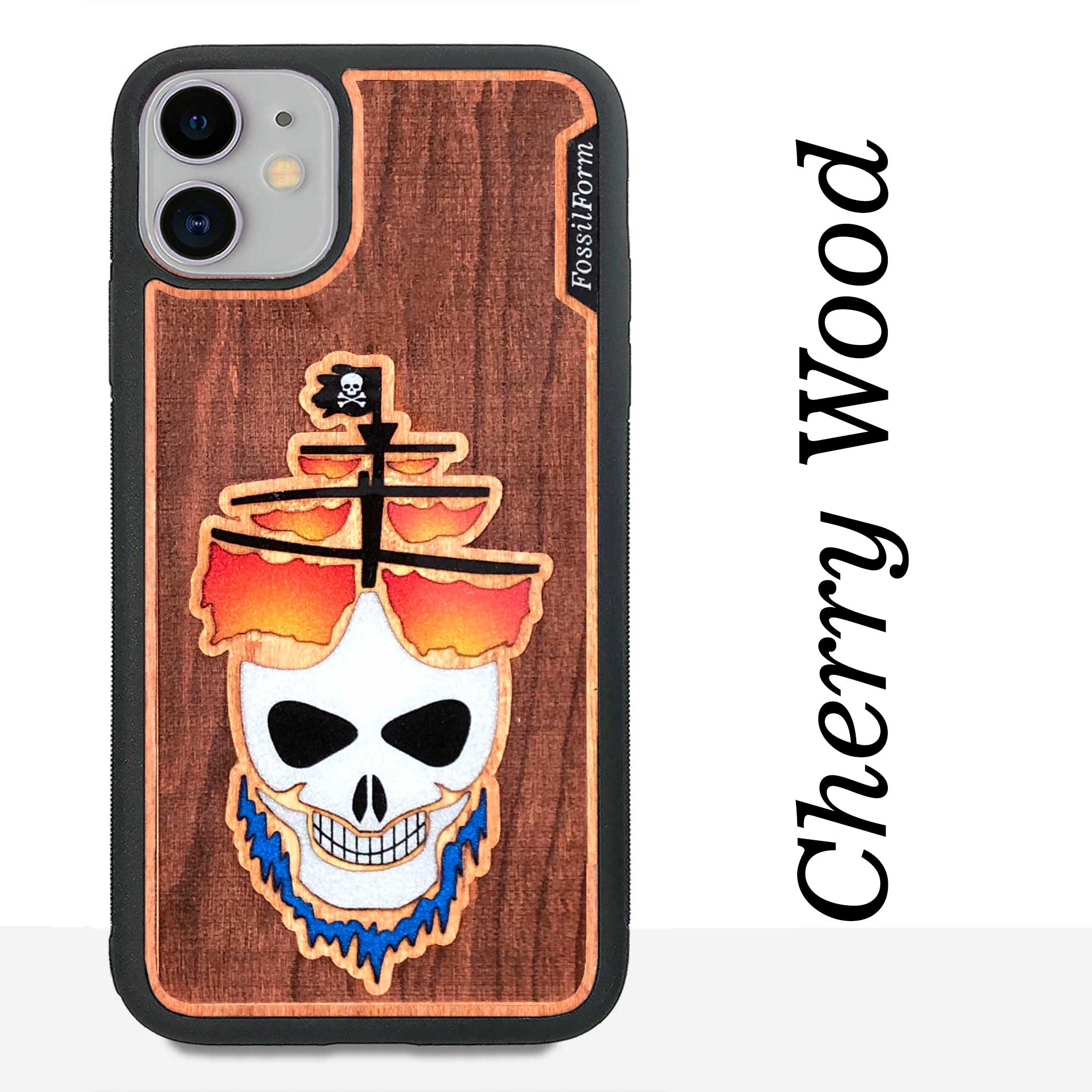 Ghost Pirate Ship - Engraved Wood & Resin Case - Black