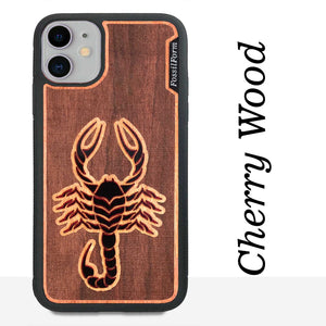 Scorpion - Engraved Wood & Resin Case - Black