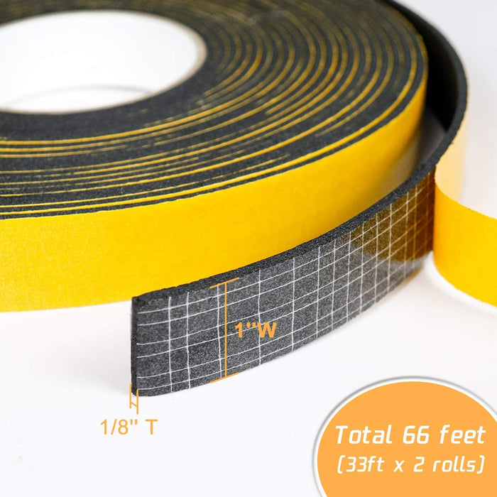 LBG Products High Density Adhesive Foam Tape, 1'' W x 1/8'' T x 66' L