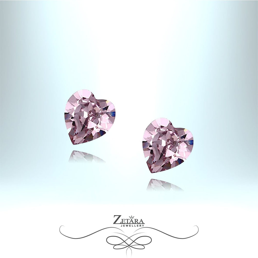 Light Amethyst Czech Crystal Heart Earrings