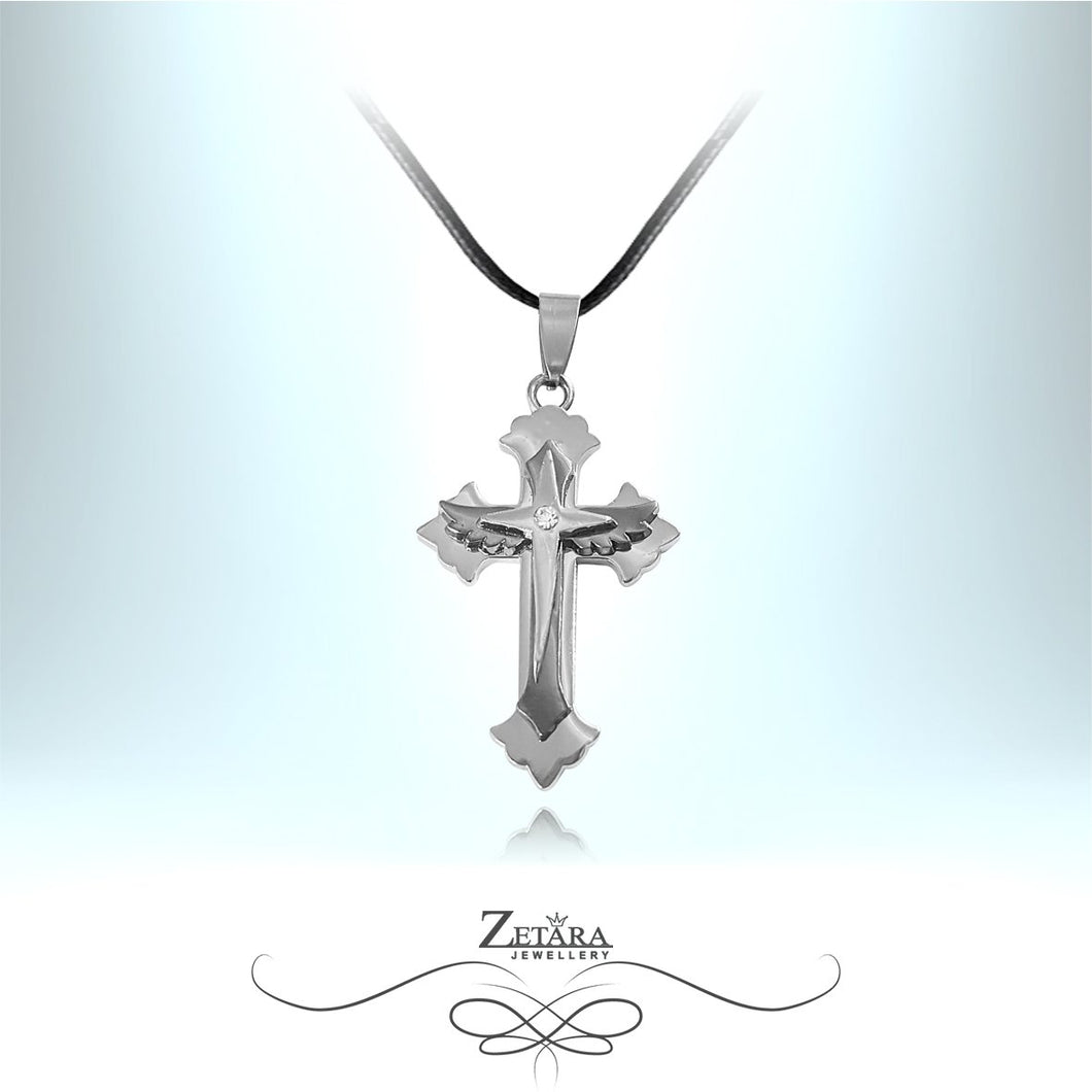 Zetara MAN - Angel Wing Cross Neck Chain - Silver
