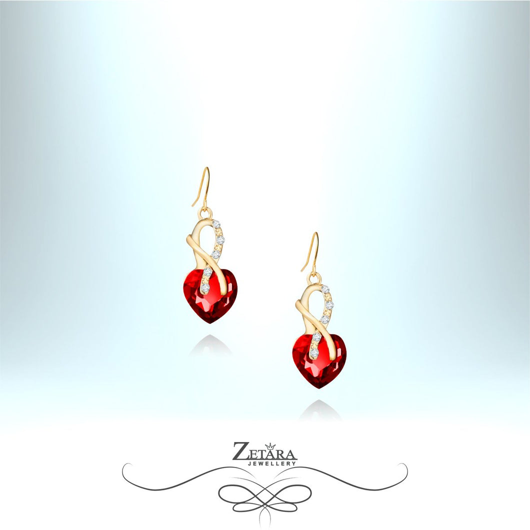 Ruby Heart Crystal Earrings
