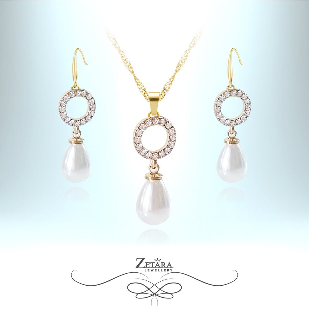 New Luck Italian Crystal Set - Freshwater White Pearl