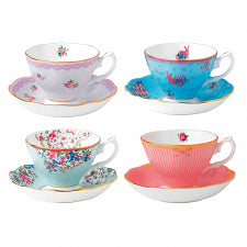 Royal Albert Candy Collection set of 4 teacups and saucers