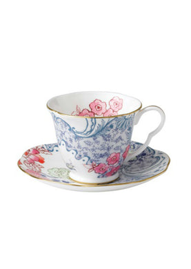 Wedgwood Butterfly Bloom Blue and Pink Teacup and Saucer