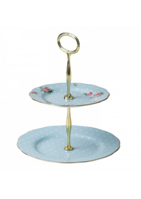 Royal Albert Polka Blue 2 Tier Cake Stand