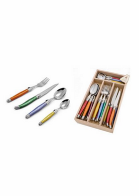 Andre Verdier Laguiole Debutant 24 Piece Cutlery Set Mixed Colours