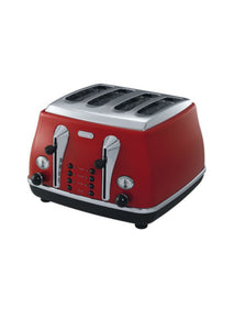 Delonghi Icona 4 Slice Toaster - Red