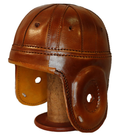Rust Brown Leather Football Helmet