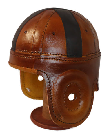 Black Cross Leather Football Helmet