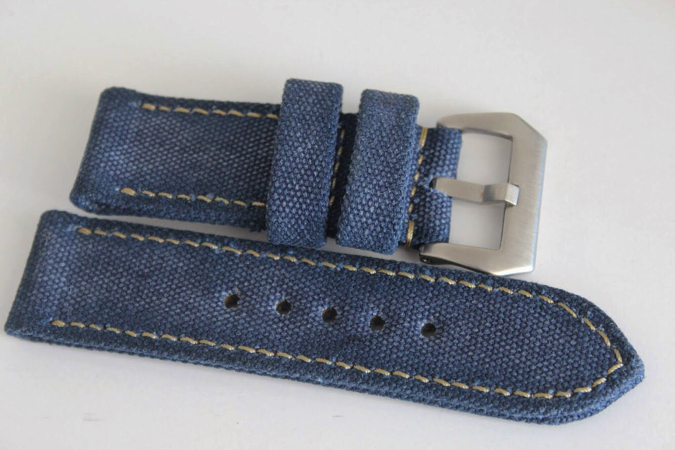 DISTRESSED ROLLED NAVY BLUE CANVAS