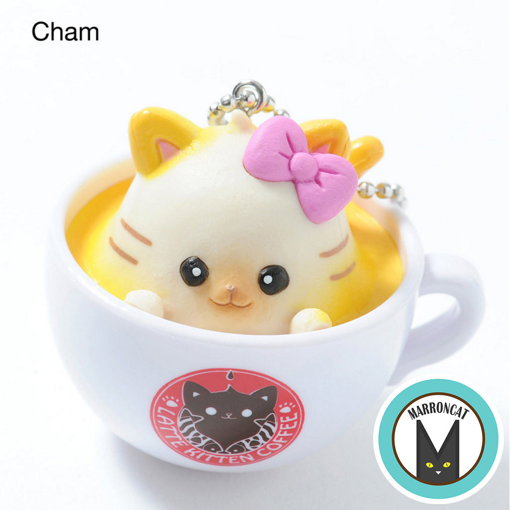 Latte Kitten Coffee Flavor Cup Ball Chain