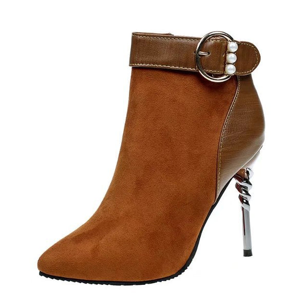2020 autumn and winter new fashion, European and Americanzipper belt buckle high heel suede and warm lady bare boots - On-Point Clothing!
