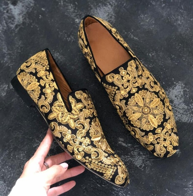 Gold Emebroidered Men Wedding Shoes - On-Point Clothing!