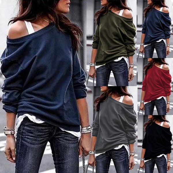 Women Long Sleeve Pullovers One Shoulder sweatshirts - On-Point Clothing!