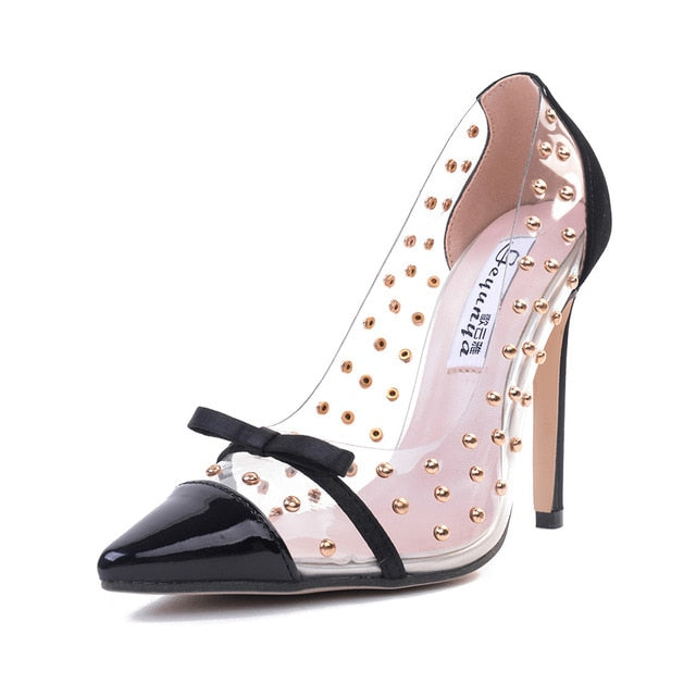 Transparent Rivet Thin High Heel Lady Shoes - On-Point Clothing!