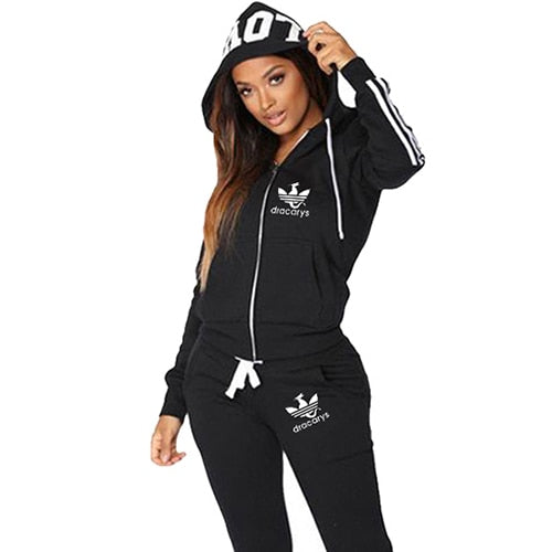 Women Letter Love Hooded Zipper Two Piece Set Tack Suit - On-Point Clothing!