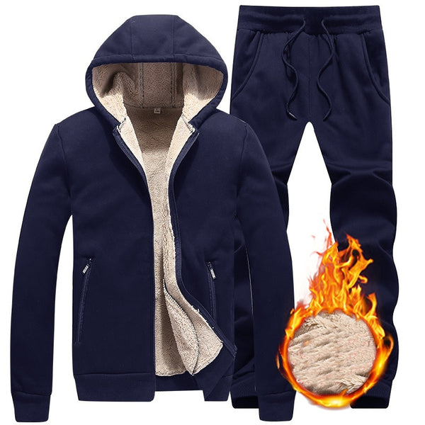 Men Fleece Sportwear Suit Casual Hoodie Thick Slim Fit Sets - On-Point Clothing!