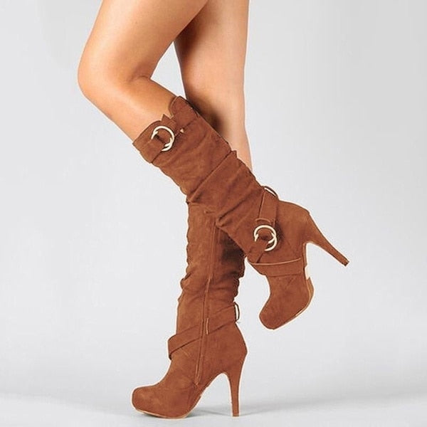 High Heel Round Toe Leather Boots for Women - On-Point Clothing!