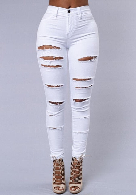 Women Denim Holes Destroyed Knee Pencil Pants - On-Point Clothing!