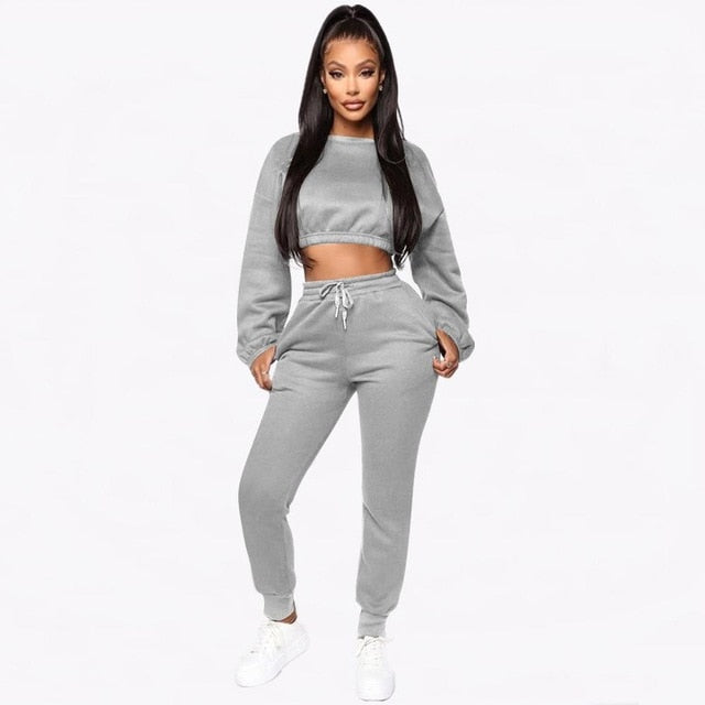 Echoine Winter Thick fleece Hoodies Two Piece Set Women Tracksuit - On-Point Clothing!