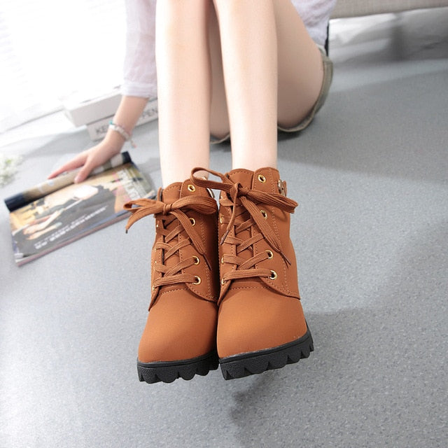 Lace Up Ankle Boots Ladies Shoes - On-Point Clothing!