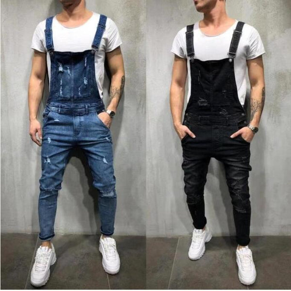 one-piece Denim Overalls Men's Hole Sling jeans - On-Point Clothing!