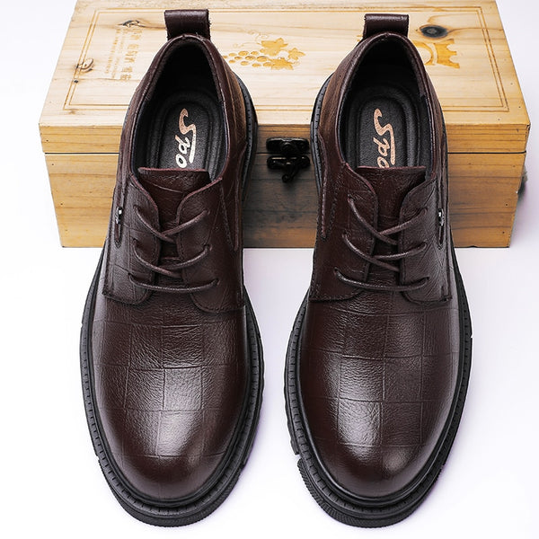 Black Genuine Leather Business Men Shoes - On-Point Clothing!