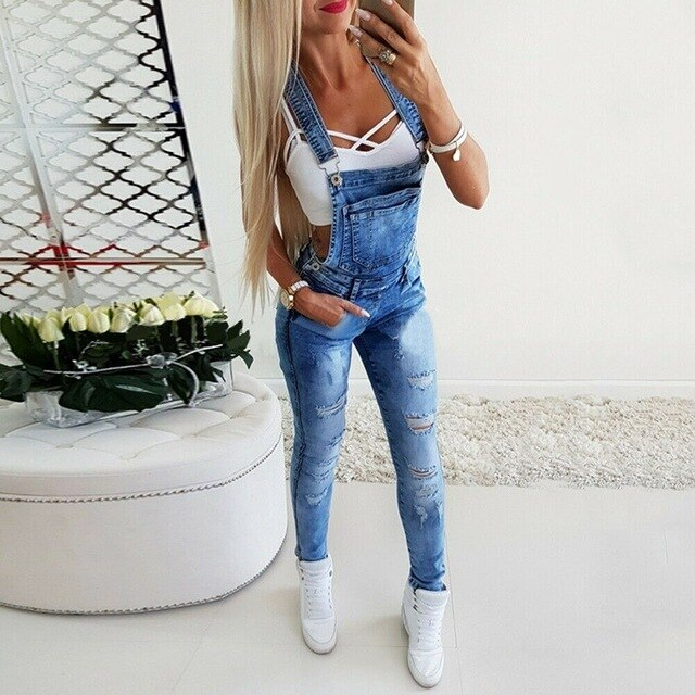 Women's Broken Hole Jeans Jumpsuit - On-Point Clothing!