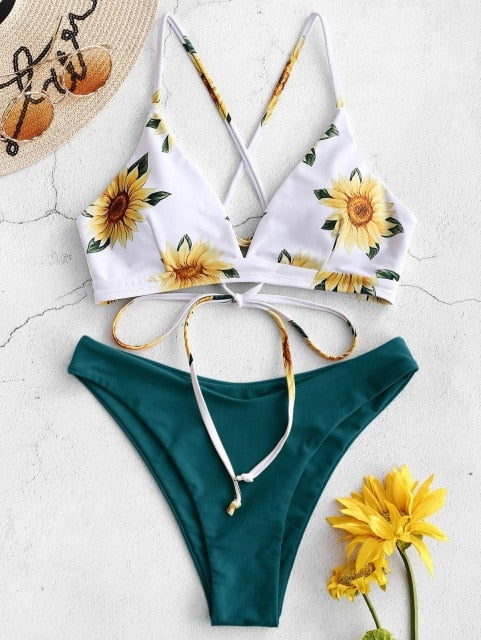 Women Sunflower Swimsuit Set - On-Point Clothing!