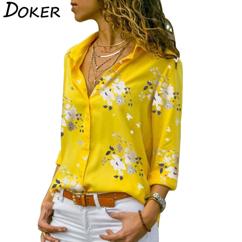 Long Sleeve Women Blouses Plus Size Turn-down Collar Elegant Work Wear - On-Point Clothing!