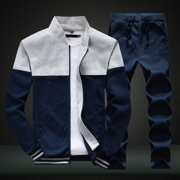 Mens 2 Pieces Sets Slim Tracksuit - On-Point Clothing!